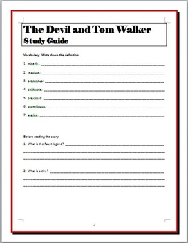 """""""The Devil and Tom Walker"""" study guide questions"""