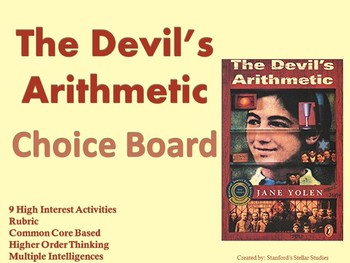 The Devil's Arithmetic Choice Board Novel Study Activities Menu Book Project