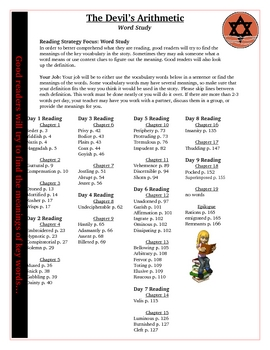 The Devils Arithmetic Vocabulary Word Study Activity