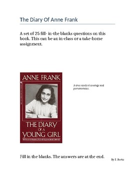 The Diary Of Anne Frank - Quiz