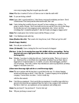 The Diary of Adam and Eve - One Act Script based on Mark Twain's Writings