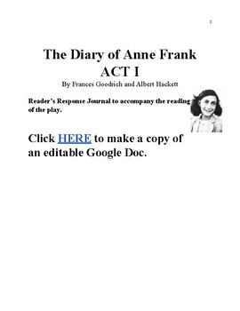 The Diary of Anne Frank Act 1 Reader Response Journal