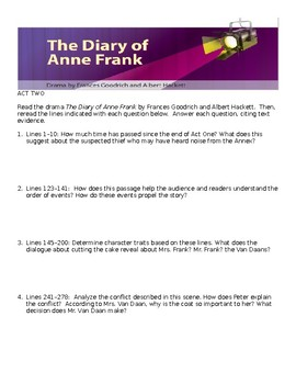 The Diary of Anne Frank Act 2 Comprehensive Study Guide