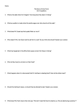 The Diary of Anne Frank Act 2 Questions