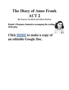 The Diary of Anne Frank Act 2 Reader Response Journal