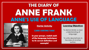 The Diary of Anne Frank - Anne's Use of Language!