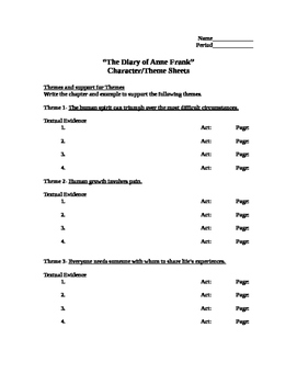 The Diary of Anne Frank Character/Theme Sheets