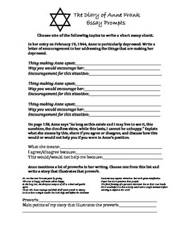 The Diary of Anne Frank Essay Prompt Pack