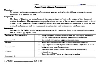 """The Diary of Anne Frank"" PARCC-based test with writing prompt and rubric"