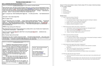 """""""The Diary of Anne Frank"""" PARCC-based test with writing pr"""