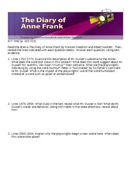 The Diary of Anne Frank Play Act 1b Comprehensive Study Guide