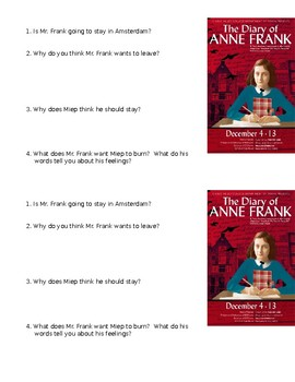 The Diary of Anne Frank Play Mini Quiz