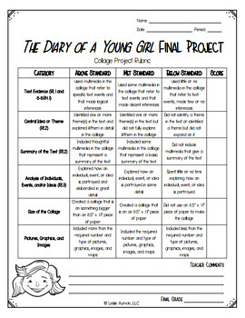 The Diary of Anne Frank Project | The Diary of Anne Frank Freebie