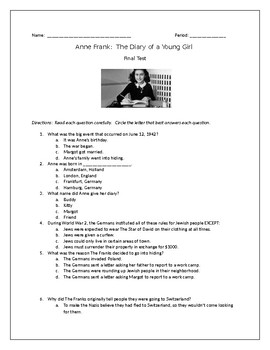 The Diary of Anne Frank Test