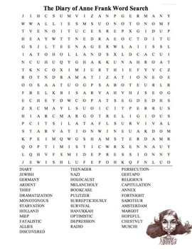 The Diary of Anne Frank Word Search by TpT Hemingway Hero ...
