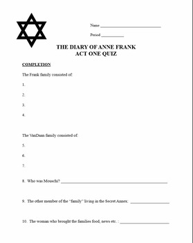 The Diary of Anne Frank play - Act One Quiz and Key