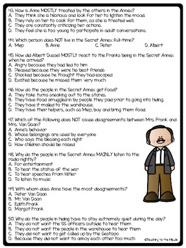 The Diary of a Young Girl- Anne Frank Comprehension Quiz- First half