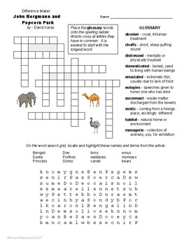 The Difference Maker: JOHN BERGMAN and POPCORN PARK Quiz & Activities