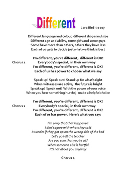 The Different Song Lyric Page
