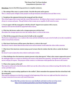 """""""The Dinner Party"""" by Mona Gardner - 10 Comprehension Questions with Key"""