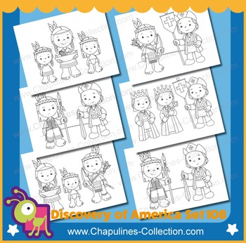 The Discovery of America clipart, Black and White, Columbus day, Set 108