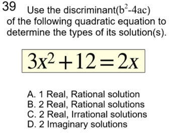 The Discriminant, Quadratic Formula, 2 Lessons & 3 Assignments For SMART