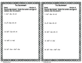The Discriminant - Quadratics : No Prep Fluent in Math Series