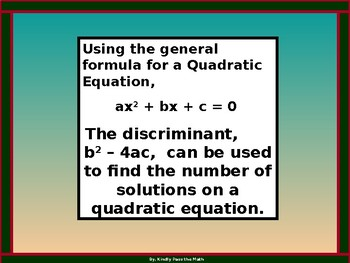 Algebra Power point:  The Discriminant with GUIDED NOTES