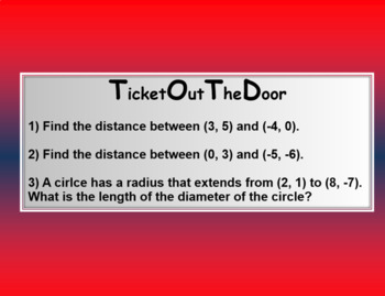 The Distance Formula (Math 1)