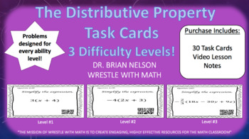 The Distributive Property (30 Task Cards – 3 different levels!)