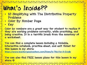 The Distributive Property Color By Number Activity:Algebra