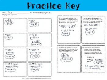 The Distributive Property: Notes, Practice, Enrichment, Exit