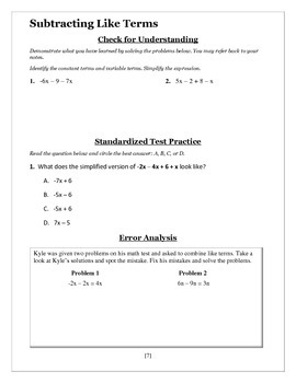 Combining Like Terms - Seventh Grade Guided Notes Packet