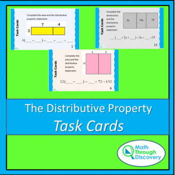 Algebra:  The Distributive Property Task Cards