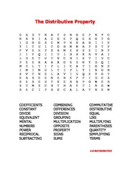 The Distributive Property Word Search