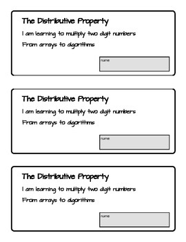 The Distributive Property for Two Digit Multiplication; Arrays and Alogorithms
