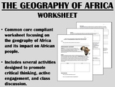 The Geography of Africa worksheet - Global/World History Common Core