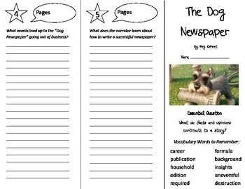 The Dog Newspaper Trifold - Journeys 5th Gr Unit 4 Wk 3 (2014, 2017 Common Core)