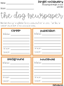 The Dog Newspaper Vocabulary Grids