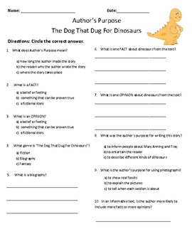 The Dog That Dug For Dinosaurs Comprehension & Vocabulary Test