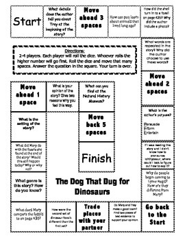 """""""The Dog That Dug for Dinosaurs"""" 2nd grade Journeys comprehension game board"""