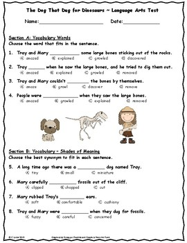 The Dog That Dug for Dinosaurs ~ Language Arts Test ~ 2nd Grade