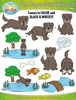 The Dog and His Reflection Famous Fables Clip Art Set — Includes 35 Graphics!