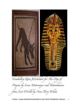 The Dog of Pompeii and Tutankhamen from Lost Worlds Vocabulary Quiz