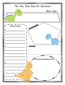 The Dog the Dug for Dinosaurs Story Map Graphic Organizer