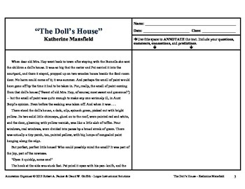 """The Doll's House"" by Katherine Mansfield: Annotation Organizer"