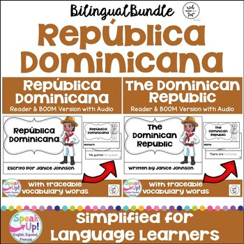 The Dominican Republic Readers & vocab pages in English & Spanish {Bilingual}