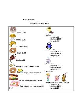 The Donut Shop- vocational task