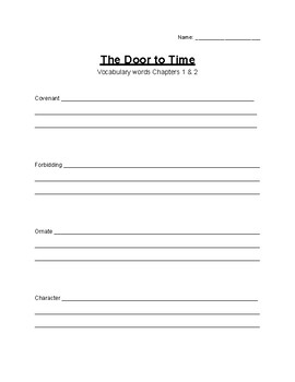 The Door to Time - Spelling and Vocabulary words ch 1-2