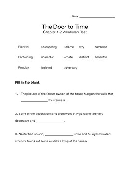 The Door to Time - Vocabulary Test - Chapters 1 -2